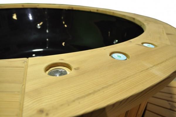 Prabangus Juodas stiklo audinio kubilas su termomedienos apdaila