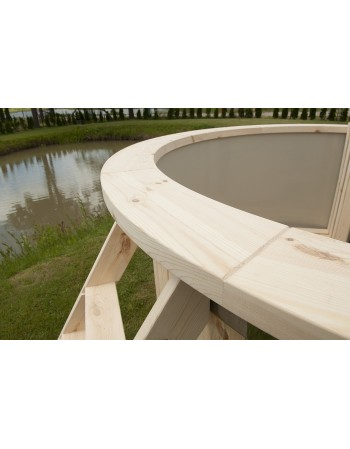 wooden sill of hot tub
