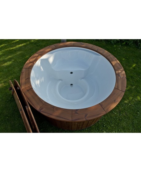 Royal wellness hot tub with integrated stove