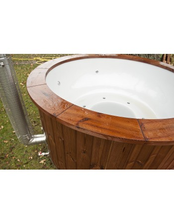 Fibreglass tub with thermowood trim and integrated stove