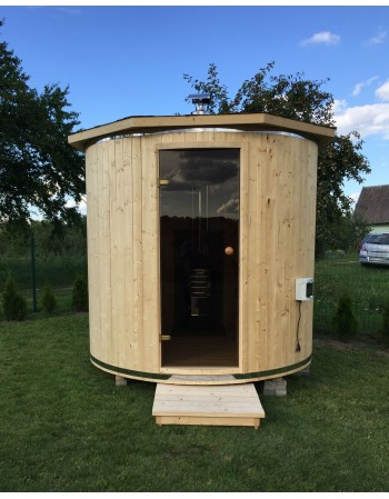 Outdoor wood heated sauna