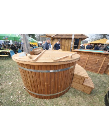 Hot tub with plastic liner and internal stove 180cm