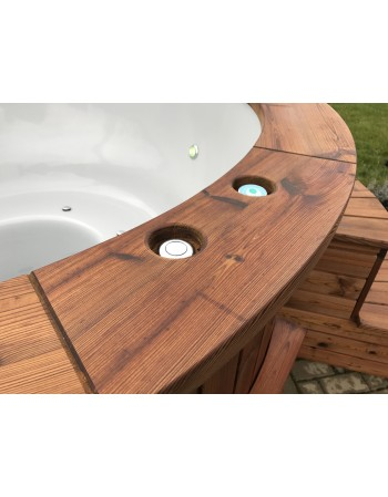 Wood fired hot tub with massages