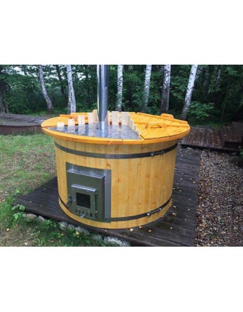 Outdoor hot tub with integrated wood stove 1.6 m