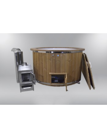 Comfortable fiberglass lined hot tub 160 cm
