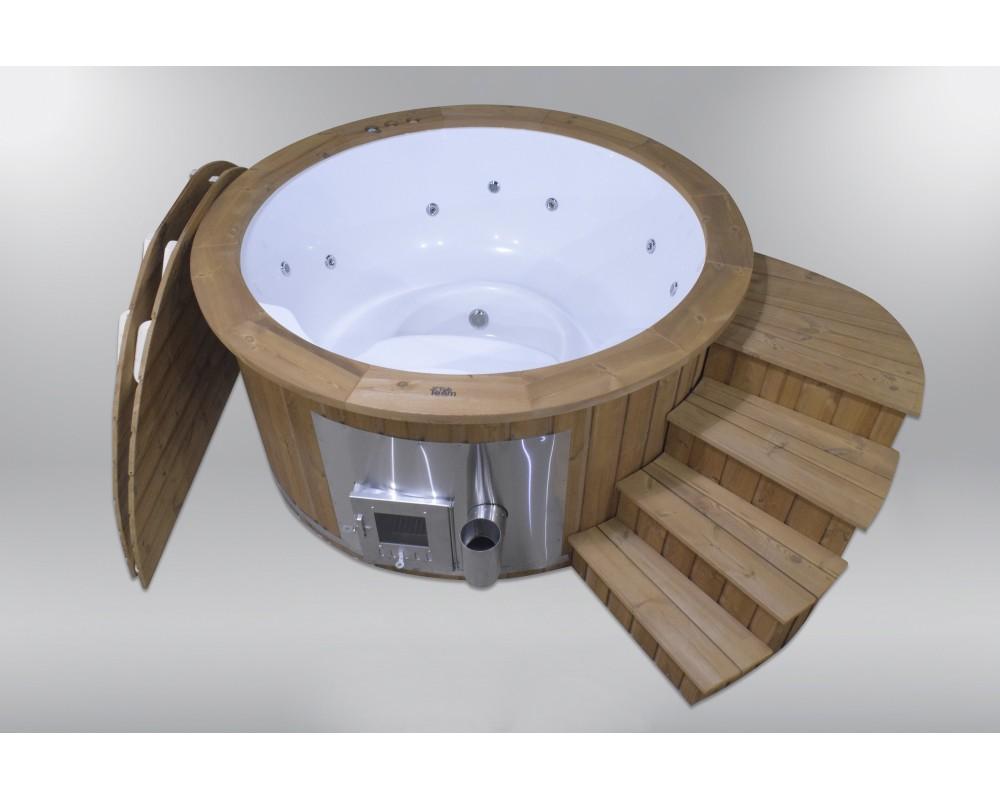 Fiberglass hot tub with podium