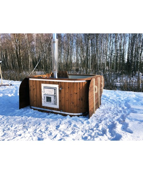 Wooden hot tub with plastic lined and powerful stove