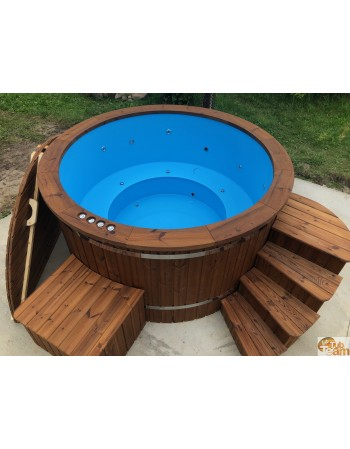 Round plastic hot tub with external stainless steel stove