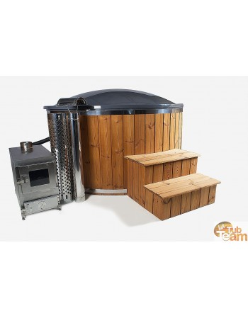 Hot tub with thermo wood finish