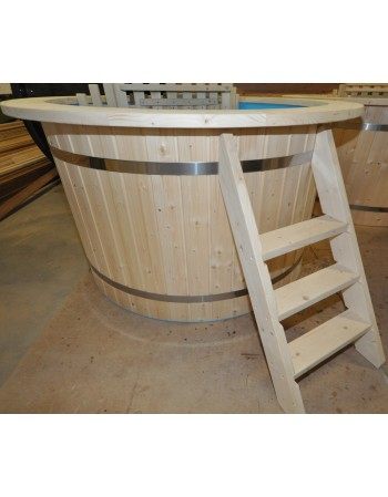 Conical shape plastic hot tub with spruce trim