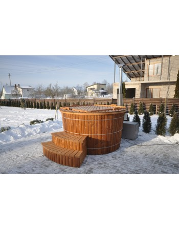 Conical shape plastic hot tub with thermowood trim