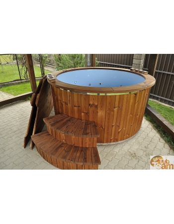 Glass hot tub with massage