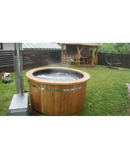 Plastic lined hot tub with thermowood