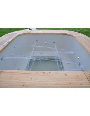 Square shape plastic hot tub with larch trim