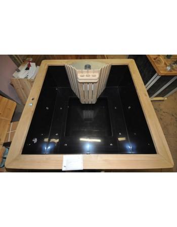 Square shape plastic hot tub with oak trim