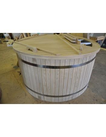 Conical shape plastic hot tub with oak trim