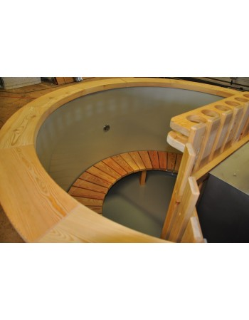 Conical shape plastic hot tub with larch trim